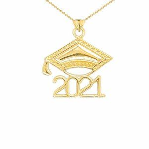 14K Solid Gold Class of 2021 Graduation Necklace